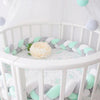 Image of Baby Crib Knotted Bumper Braided Plush Nursery Cradle Decor