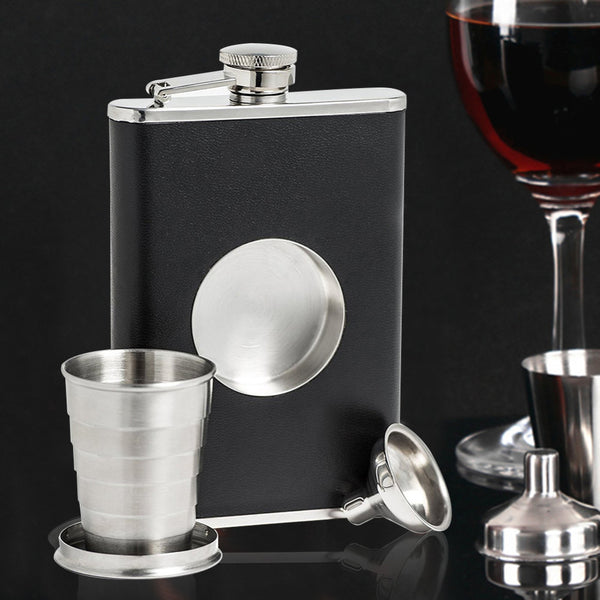 Shot Flask Pro - Stainless Steel with Premium Bonded Leather Wrapping