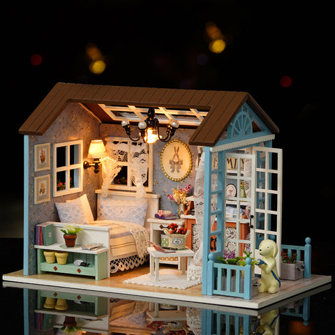 DIY Miniature Dollhouse Model Wooden Toy Furniture's with Bedroom Set