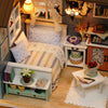 Image of DIY Miniature Dollhouse Model Wooden Toy Furniture's with Bedroom Set