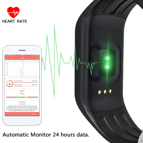 Waterproof Fitness Tracker with Heart Rate Monitor for Android & iOS Smartphones