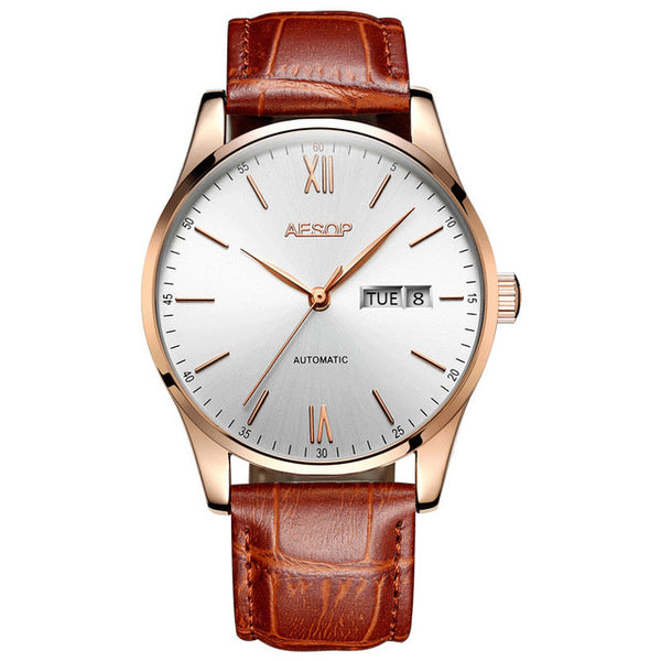 Simple Classic Ultra-thin Stainless Steel Automatic Mechanical Waterproof Watch