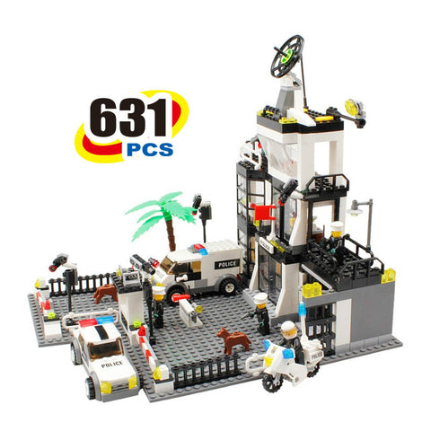 631Pcs City Police Station Building Blocks action figure baby toys