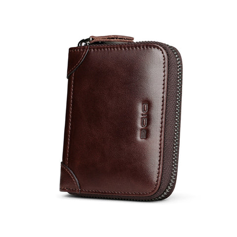 Men's RFID Blocking Leather Zipper Around Wallet Travel ID Card Window Bifold