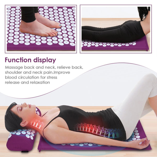 Acupressure Massage Mat - Acupressure Mat and Pillow Set to Get Relief From Back & Neck Pain