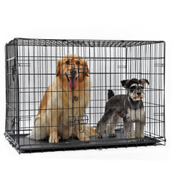 Foldable Iron Crate Double-Door Pet Kennel