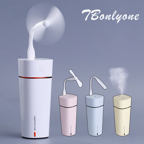 Ultrasonic Cool Mist Humidifier with Quiet USB Desk Fan & LED Desk Lamp