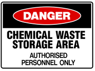 DANGER Chemical waste storage area