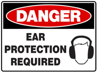 DANGER Ear protection required with symbol
