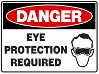 DANGER Eye protection required with symbol