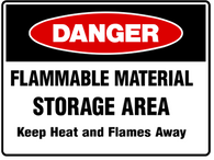 DANGER Flammable material storage area