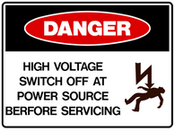 DANGER High voltage switch off at power source before servicing