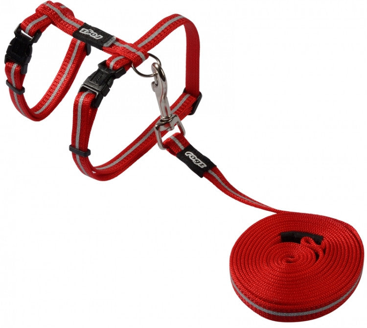 Rogz Harness And Lead Alleycat Red