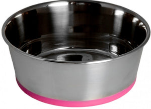 Rogz Slurp Stainless Steel Bowl Pink Dog Bowl