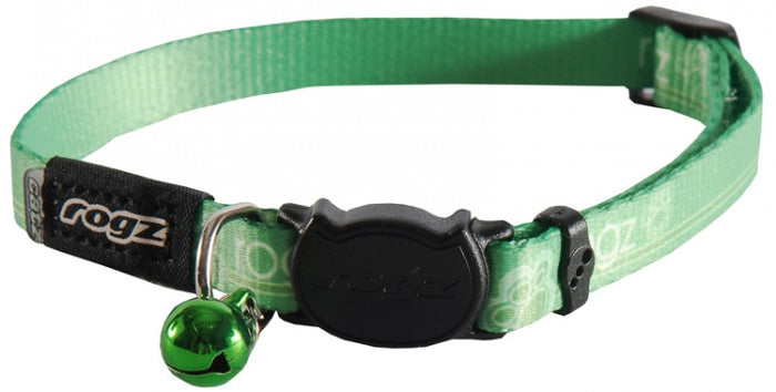 Rogz Collar Safeloc Kiddycat Lime Paws