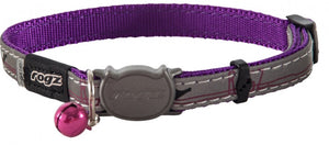 Rogz Collar Safeloc Nightcat Purple Budg