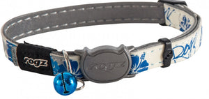 Rogz Collar Safeloc Glowcat Blue Floral