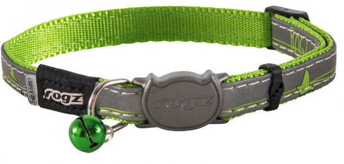 Rogz Collar Safeloc Nightcat Lime Swallow