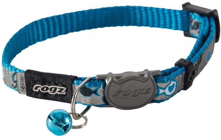 Rogz Collar Safeloc Reflectocat Blue Fish