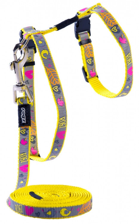 Rogz Harness And Lead Reflectocat Dayglo