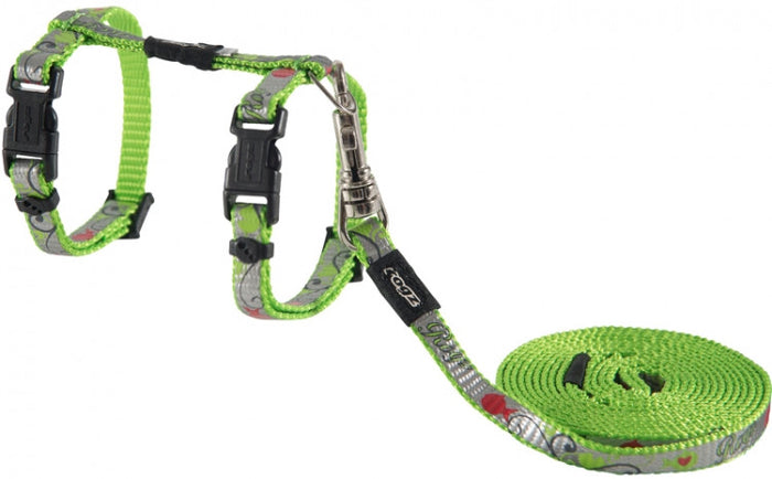 Rogz Harness And Lead Reflectocat Lime