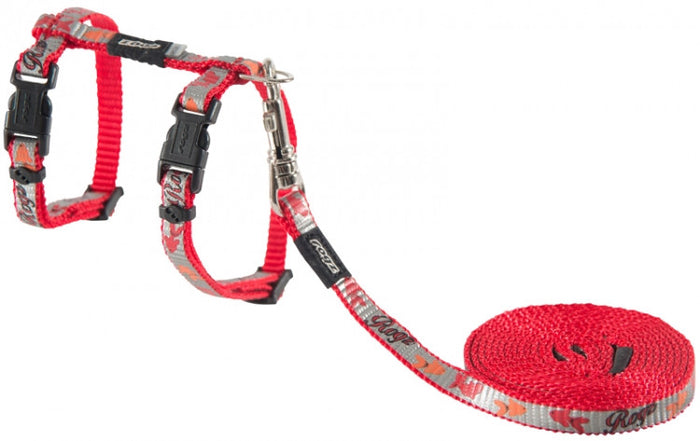 Rogz Harness And Lead Reflectocat Red
