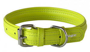 Rogz Leather Collar Lime