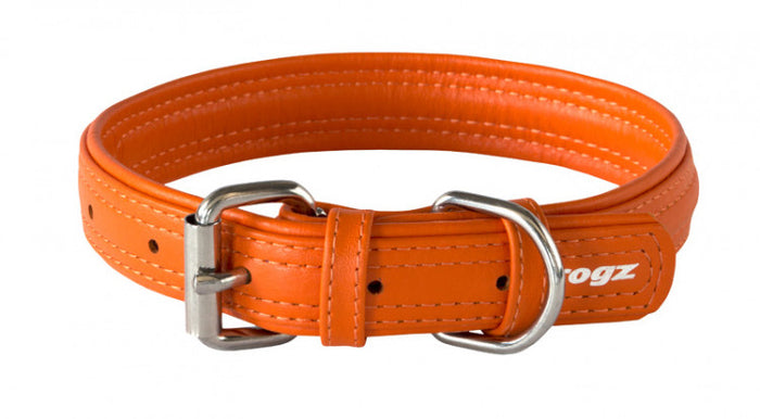 Rogz Leather Collar Orange