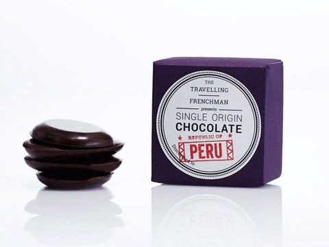 dark spicy chocolate from native farming communities in the Peruvian rainforest