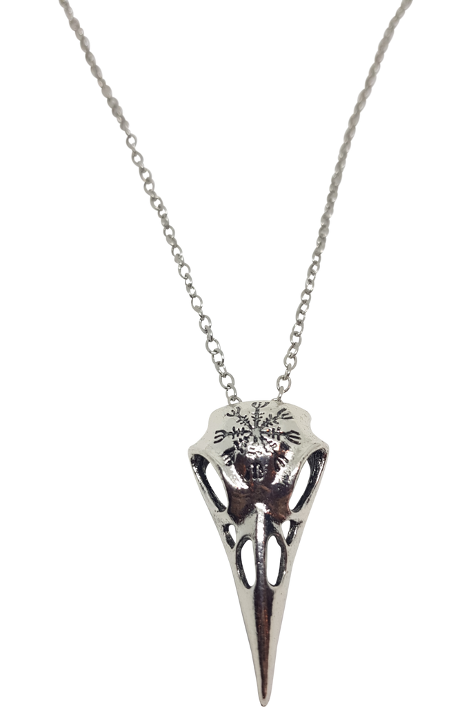 Helm of Awe Raven Skull Necklace