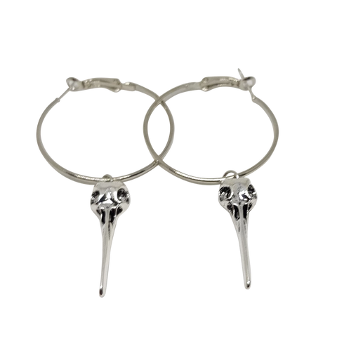 Hummingbird Skull Hoop Earrings