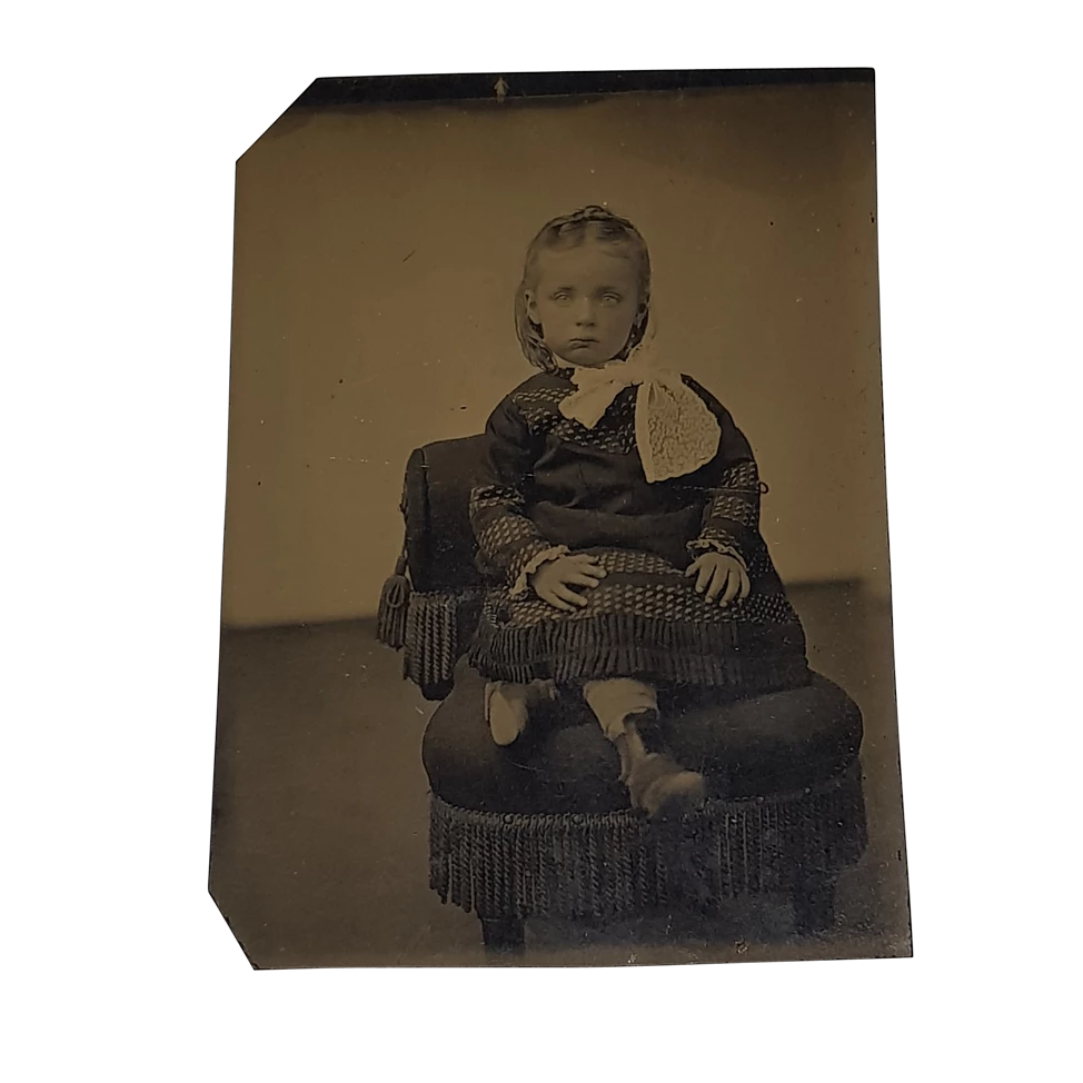 Young Rosy Cheeked Child on Stool Tintype