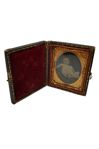 Antique Victorian Rosy-Cheeked Baby Tintype in Leatherette Case