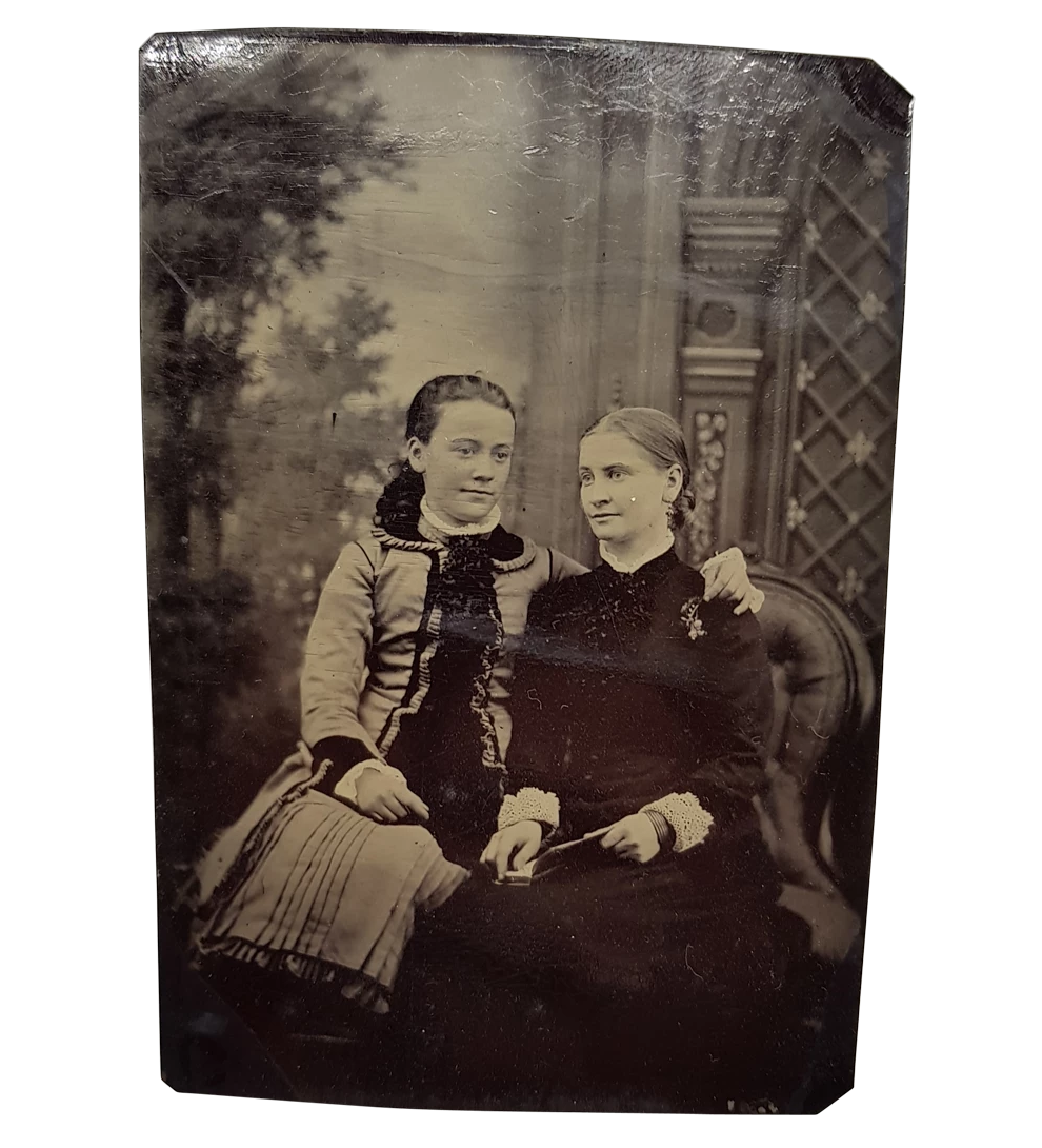 Tintype of Two Sydney Girls in Mourning c.1860s