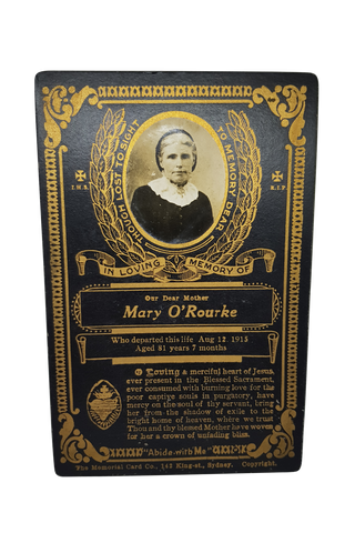 Mary O'Rourke Funeral Cabinet Card
