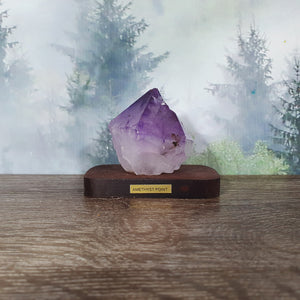 Amethyst Point Specimen on Wooden Stand
