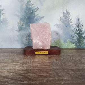 Rose Quartz Specimen on Wooden Stand