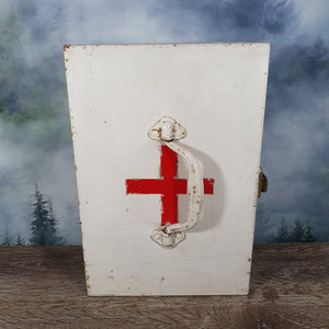 Vintage White and Red Metal First Aid Box