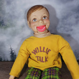 Vintage 1970s 'Willie Talk' Horsman Ventriloquist Doll in Yellow Shirt
