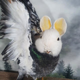 White and Grey Extended Wing Rogue Taxidermy Bunny Bird