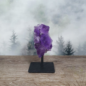 Amethyst Rough Cluster On Metal Stand