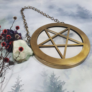 Brass Finish Pentacle Mirror Wall Hanging