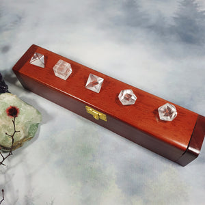 Clear Quartz Sacred Geometry Set in Wooden Box
