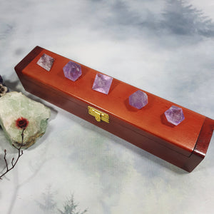 Amethyst Sacred Geometry Set in Wooden Box