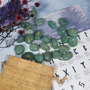 Green Aventurine Tumbled Stone Rune Set