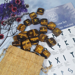 Tiger's Eye Tumbled Stone Rune Set