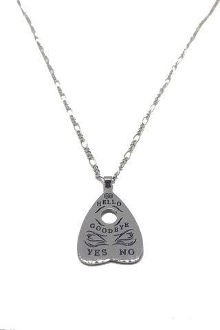 Mystic Eyes Ouija Planchette Stainless Steel Necklace