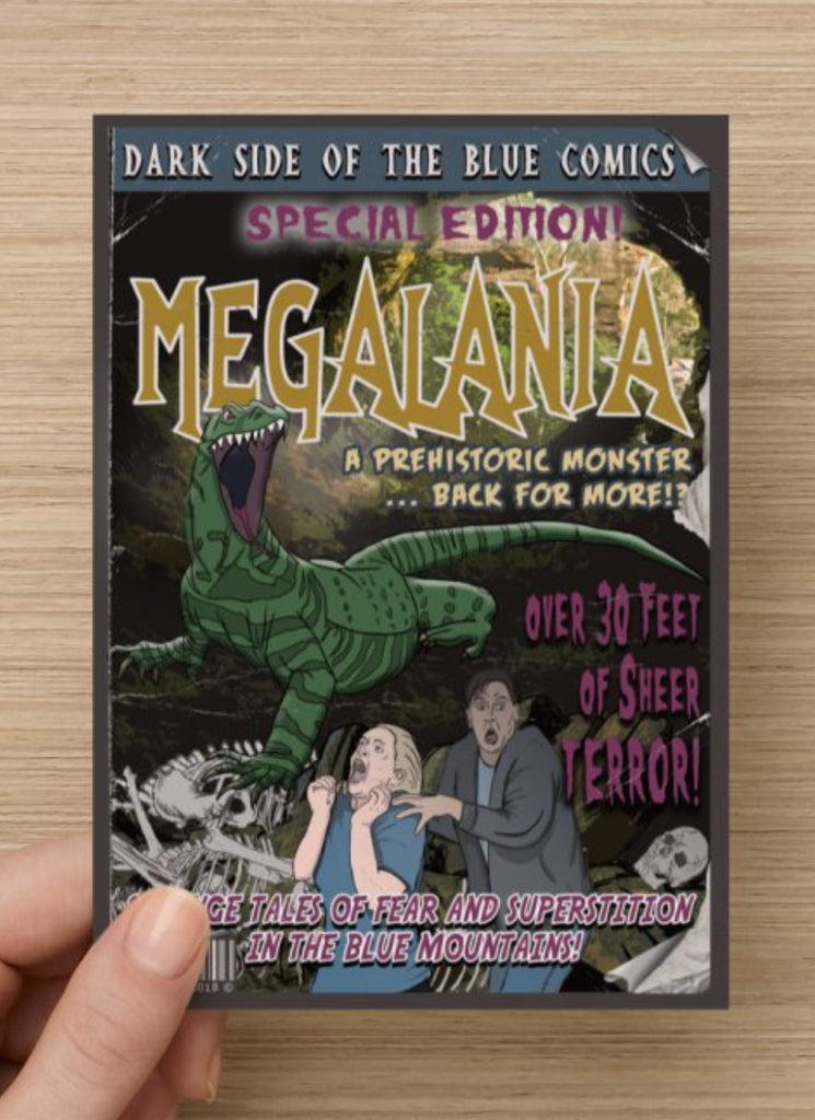 Megalania Postcard or Magnet by Bowie Bunny, Blue Mountains