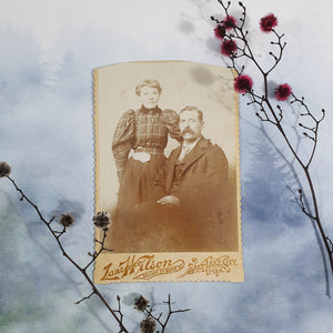 Darkly Dressed Couple Cabinet Card