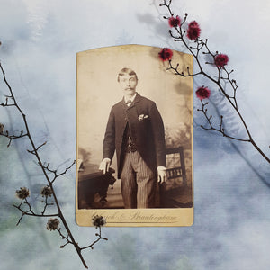 Man With Pinstripe Pants and Cool Hair Cabinet Card